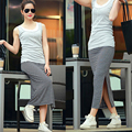 4 Color 2016 The New Long Elastic Waist Slim Package Hip Side Slit Modal Stripe Skirt Step woman Skirt 95% Cotton
