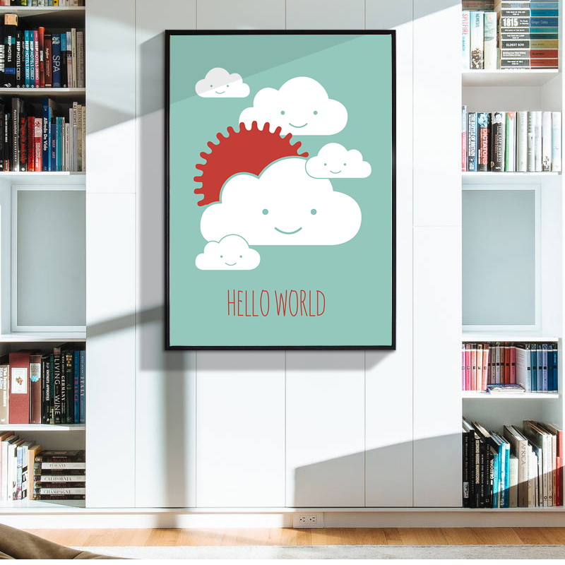 Wall Decor Nursery Nz : Cartoon clouds canvas art print poster wall pictures