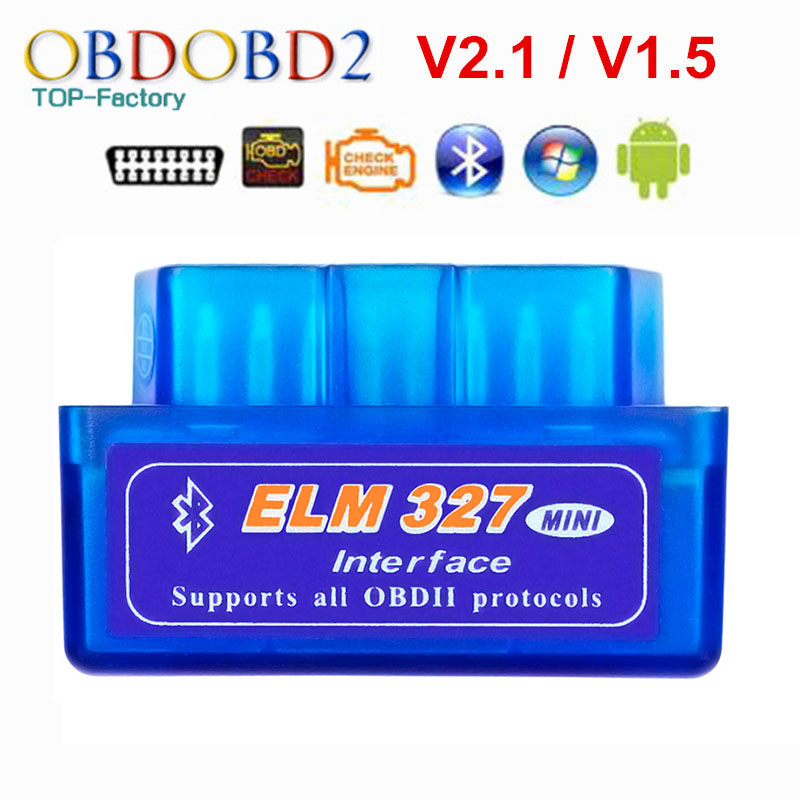 2019 Super Mini ELM327 Bluetooth V2.1/V1.5 OBD2 herramienta de diagnóstico del coche ELM 327 Bluetooth 4,0 para Android/Symbian OBDII Protocolo Coche Mini portátil ELM327 V2.1 OBD2 II Bluetooth diagnóstico coche Auto interfaz escáner azul Premium ABS herramienta de diagnóstico