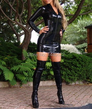 Summer dress 2016 Sexy Black Long Sleeves Latex Dress with front  Zipper fetish rubber vestidos plus size hot sale
