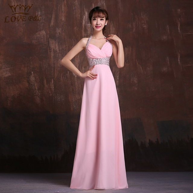 ecae04d4b Vestidos largos por la noche 2016 mujeres elegantes Royal azul   rosa de  gasa maxi vestido