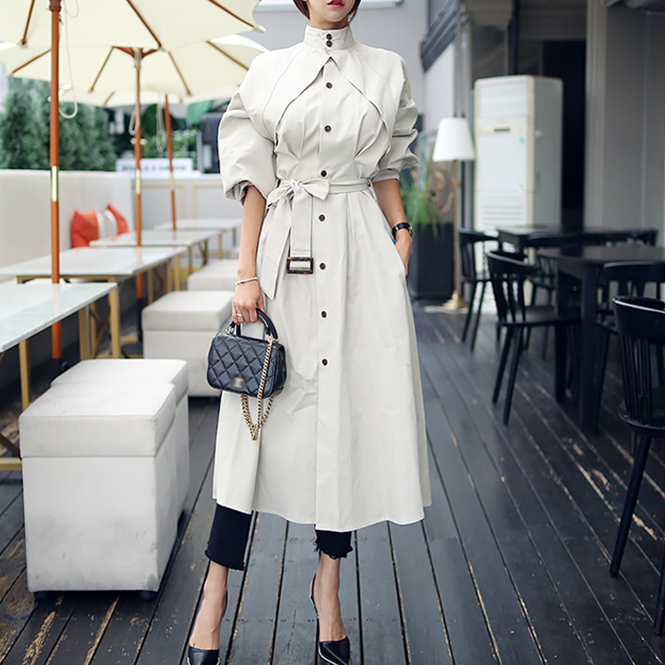 Stand Collar Single-breasted Long   Trench   Coat for Women 2019 Autumn Belted Windbreaker White   Trench   Coat Femme High Quality