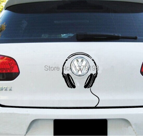 100pcs car sticker car tail logo stickers headphone car decal for volkswagen polo new beatle golf