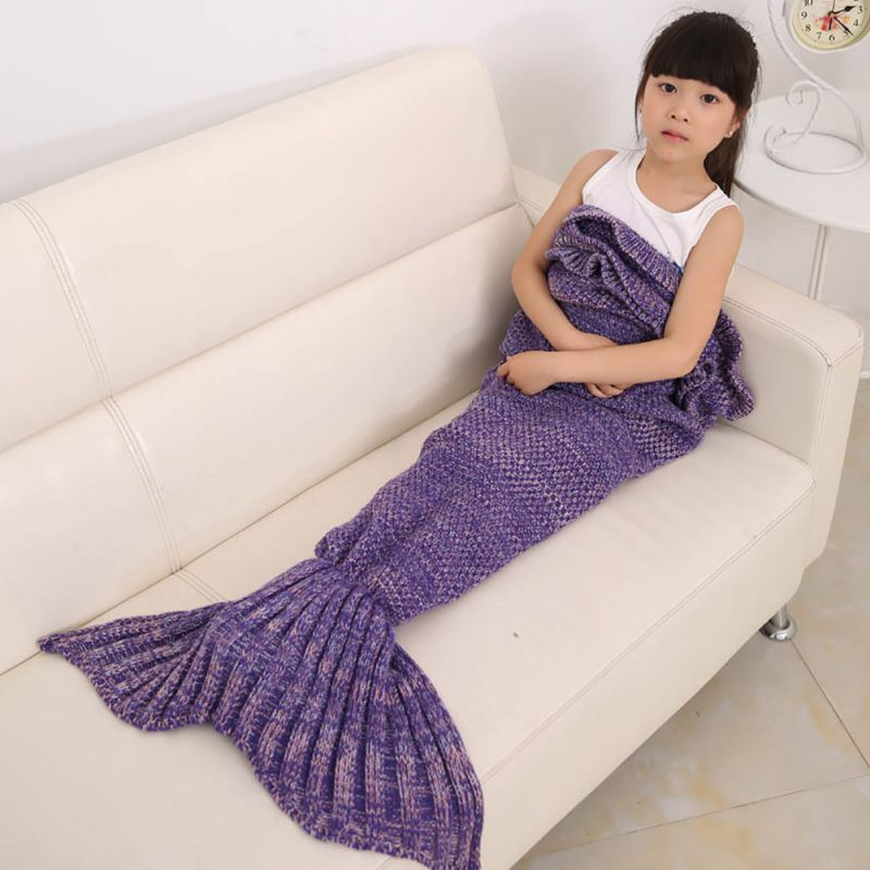 Children Throw Bed Wrap Sleeping Bag Four Colors Knitted Mermaid Tail Blanket Handmade Crochet