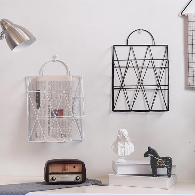 Wall Metal Magazine Holder Newspapers Bookshelf Office Desk Document Organizer Bookends Home Book Collection Shelf Decoration