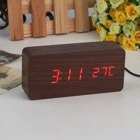 Large Size Wooden LED Desktop Alarm Clock Temperature Sounds Control Calendar Digital Clock Classic LED Display Clocks