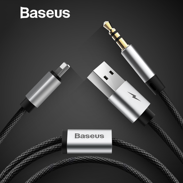 finest selection e1dca f407a US $11.98 |Baseus 2 in 1 Aux Audio Cable For iPhone Adapter splitter For  iPhone 8pin and USB to aux jack 3.5mm for Headphone Car speaker on ...