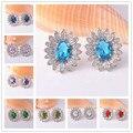 Estilo europeu 925 prata brincos flor brincos para mulheres cristal azul oceano jóias