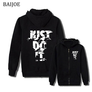BAIJOE New Hooded Mens JUST DO IT print Hoodies and Sweatshirts for Autumn with Hip Hop Winter boy Hoodies Men Brand clothing