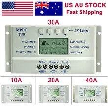 ตัวควบคุมพลังงานแสงอาทิตย์ MPPT 10A 20A 30A 40A 12 V/24 V Auto แบตเตอรี่ LCD Dual Timer ควบคุม T10 T20 T30 T40