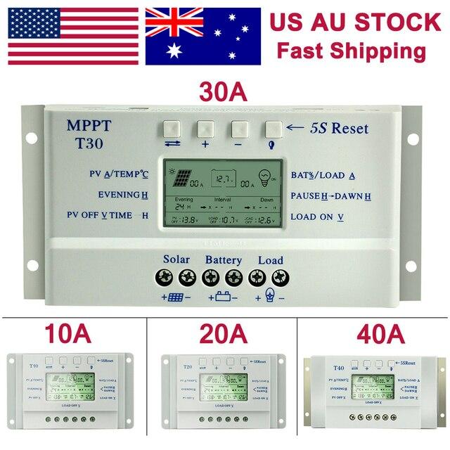 בקר טעינה סולארית MPPT 10A 20A 30A 40A 12 V/24 V אוטומטי סוללה רגולטור מטען LCD הכפול טיימר בקרת T10 T20 T30 T40