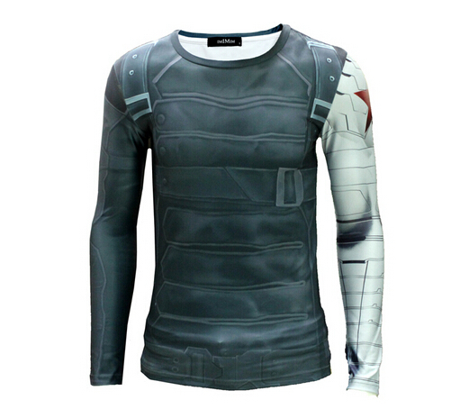 High Quality 2016 Marvel Captain America 2 Winter Soldier costume 3d Super Hero jersey Long sleeves camisetas t shirt men