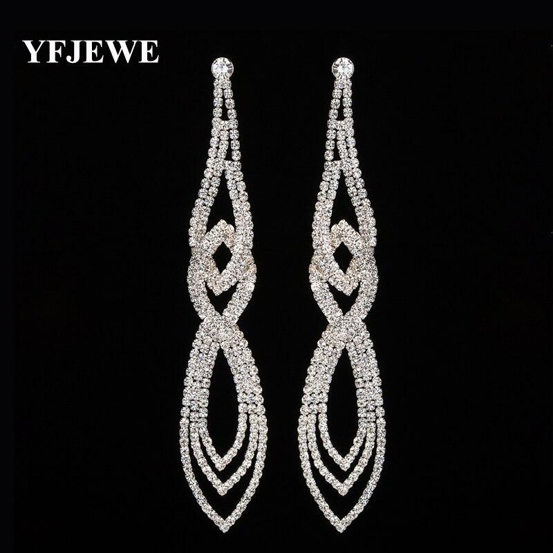 YFJEWE Classic Crystal Long Dangle Earrings Women Wedding El