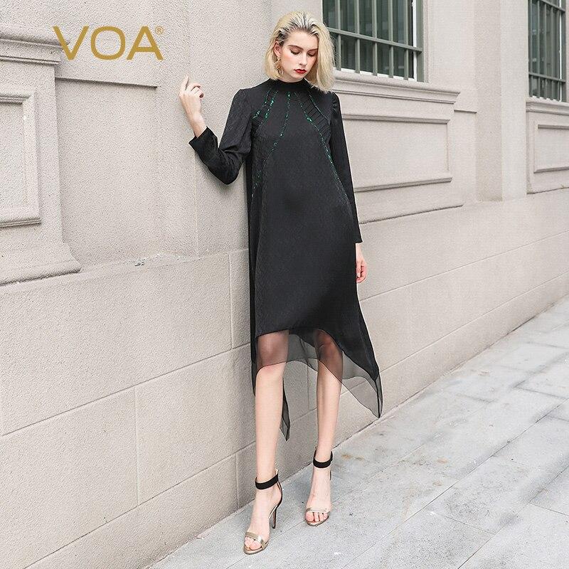 VOA Black Chinese Irregular Mesh Midi Silk Dress A10098