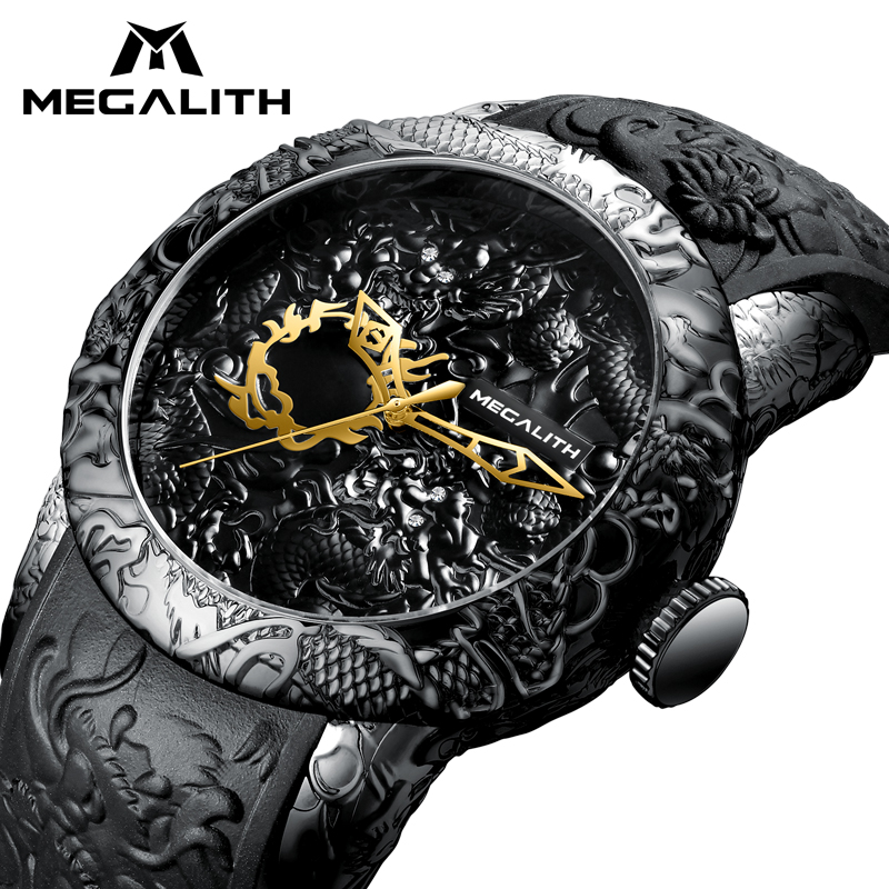 MEGALITH Fashion Gold Dragon Sculpture Watch Men Quartz Watch Waterproof Big Dial Sport Watches Men Watch Top Luxury Brand Clock цена и фото