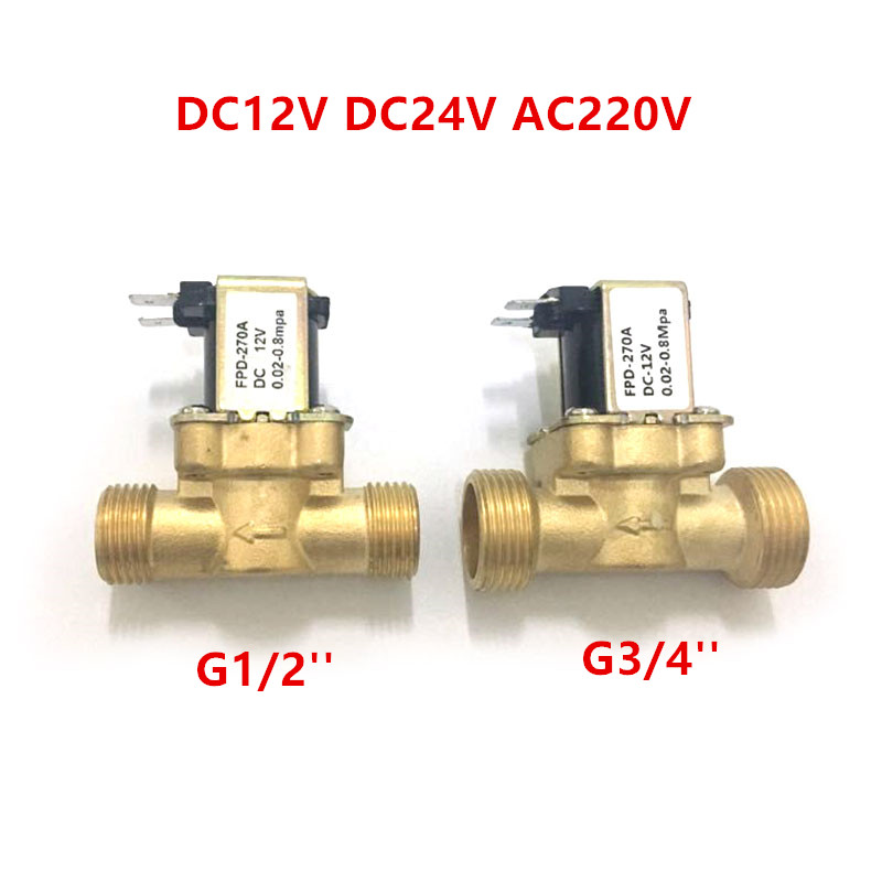 "EBOWAN G1/2"" Brass electric solenoid valve N/C 12v 24v 220v G3/4"" Water Air Inlet Flow Switch for solar water heater valve"