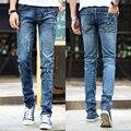 Осень/зима мужские сломанные отверстия патч носить хлопок джинсы мужской Моды slim fit Толстые раздел брюки