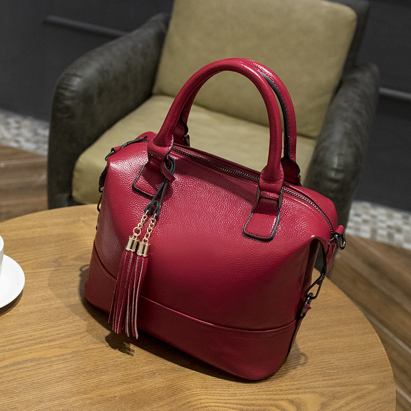 2018 Women Genuine Leather Handbags Luxury Brand Handbags Women Bags Messenger Designer Tassel Fashion Women's Shoulder Bags X43 2017 new female genuine leather handbags first layer of cowhide fashion simple women shoulder messenger bags bucket bags