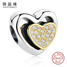 Authentic 925 Sterling Silver Heart Joined Together,Clear CZ Charms Fit Pandora Bracelet Gold Plated Heart Charms DIY Jewelry