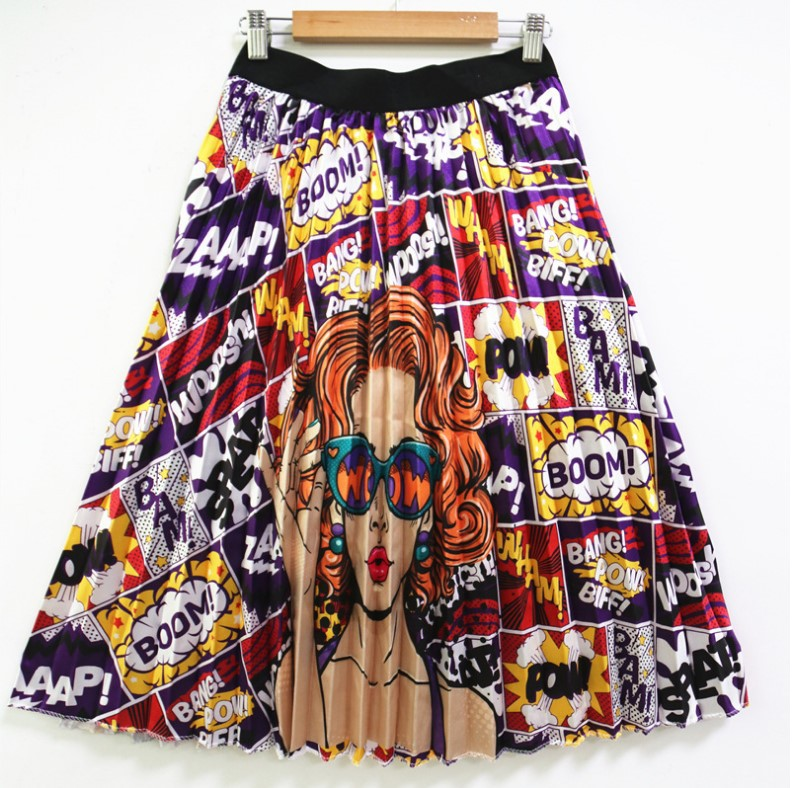 2019 Dashiki  African Dresses For Women Fashion New High Waist African Pleated Skirt For Ladies Spring And Summer MIDI African S