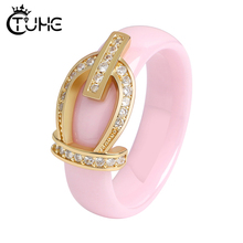 Russian Pink Zircon Crystal Women Ring Wedding Fashion Gold Crown Party Jewelry Healthy Ceramic