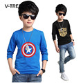 V-TREE 2017 Spring Boys Shirts Teenage School Boys T Shirt Longsleeve Clothings Tops Tees 100% Cotton.bobo Choses T Shirt