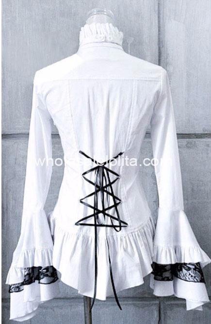 Белая королевская кружевная Готическая блузка Лолита с расклешенными рукавами, рубашка Лолита, шифоновая кружевная рубашка 4xl 5xl 6xl для продажи