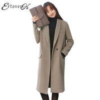 Mulheres Jaquetas de Inverno 2017 Novo Casaco De Lã quente Outerwear Moda Elegante casaco feminino Manga Longa Top Mais Grosso Roupas LH041