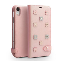 QIALINO Lovely Genuine Leather Pink Phone Cover for iPhone X XS Cute Sakura Flip Case for Girl or Lady for iPhone XR XS Max