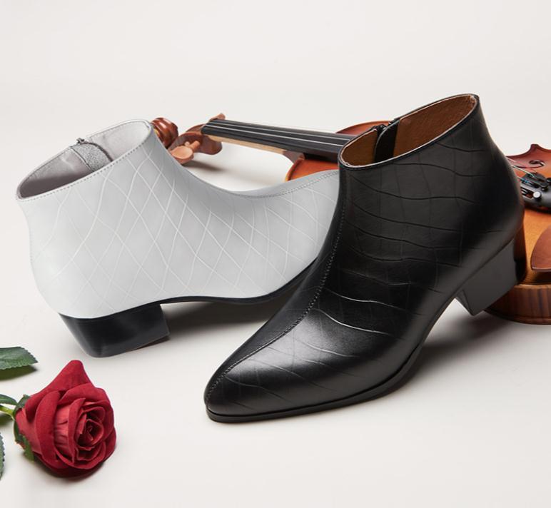 Herfst winter nieuwe heren zwart wit puntschoen genuine leather ankle laarzen hoge hakken mode trouwjurk schoenen mannen werken laarzen - 2