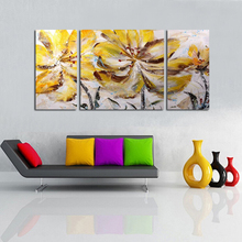 3Pcs/lot Brown Flower of the Wind Unframed Pure Hand Painted Modern Abstract Oil Painting On Canvas Wall Art Home Decor