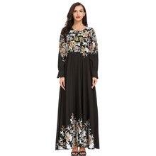 Womens  2019 UAE Qatar Velvet Muslim Hijab Dress Women Jilbab Kaftan Robe Musulmane Long ue Dubai Clothing 4.15