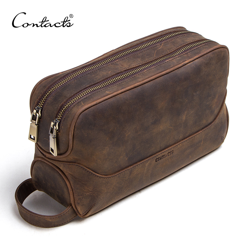 CONTACT'S Crazy Horse Genuine Leather Men's Cosmetic Bag Male Toiletry Bag Vintage Wash Bags Man's Make Up Bags Travel Organizer