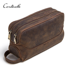 CONTACTS crazy horse genuine leather mens cosmetic bag male toiletry bag vintage wash bags mans make up bags travel organizer