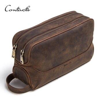CONTACT'S crazy horse lederen mannen cosmetische zak mannelijke toilettas vintage wassen tassen man's make up tassen travel organizer
