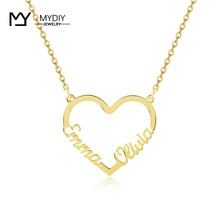 Customize Two Names Heart Necklace Personalized Gold Nameplate in 925 Sterling Sliver Necklaces For Women Handmade Jewelry