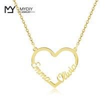 Özelleştirmek Iki Isimleri Kalp Kolye Kişiselleştirilmiş Altın Tabela 925 Ayar Gümüş Kolye Kadınlar Için El Yapımı Takı