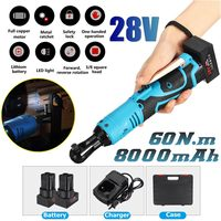 28V Electric Wrench Kit 3/8 Cordless Ratchet Wrench Rechargeable Scaffolding 60N.mTorque Ratchet With Sockets Tools