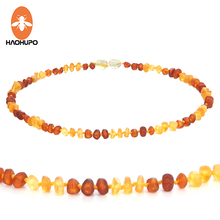 """HAPHUPO 100% Baltic Amber Necklaces for Baby Raw Baroque Handmade Natural Amber Beads Available in 12-15"""" Length Screw Clasp"""