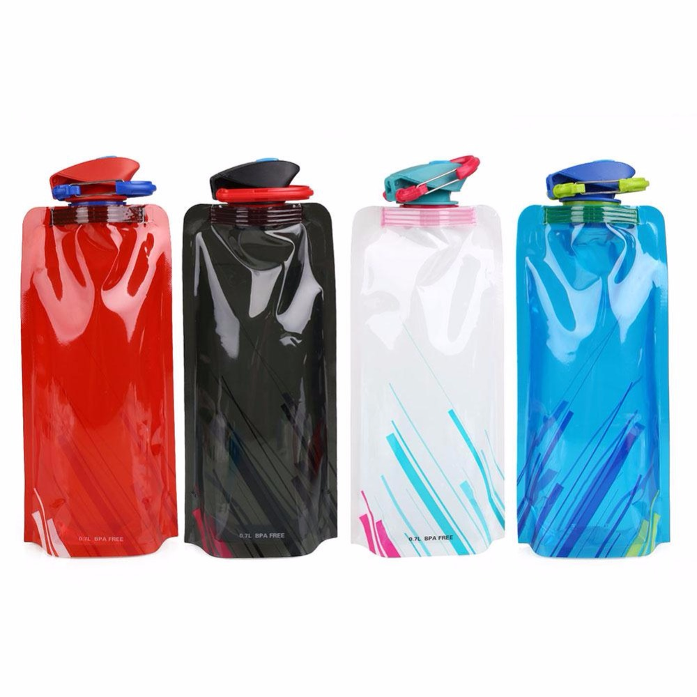 700ML Outdoor Sport Travel Foldable Collapsible Camping Hiking Portable Drink Water Bag Bottle Sports Kettle Cup цена