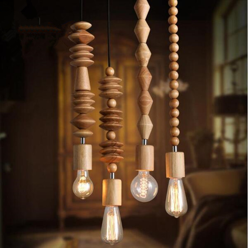 Vintage pendant light Retro style Oak wood lamp 120cm cord the geometric beads string droplight hanging Light Fixture vintage pendant light oak wood retro lamp 100cm wire e27 socket hanging triangle rope light fixture 100 240v luminaire lamparas