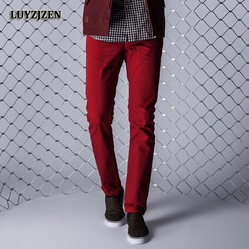 2017 Autumn Denim Overall Classic Red Jeans Stretch Pants Slim Fit Red Trousers Hip Hop Streetwear Casual Pants High Quality F11 fashion europe style printed jeans men denim jeans slim black painted pencil pants long trousers tight fit casual pattern pants