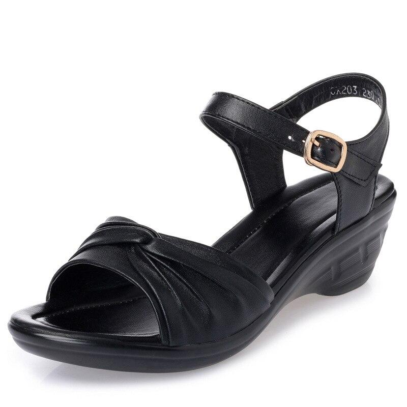 Taille Compensées Grande D'été Sandales Beige De Sauvage Femmes slip Plat noir Alishinrey 42 gris Mou Non 43 Fond marron qF7HwRx