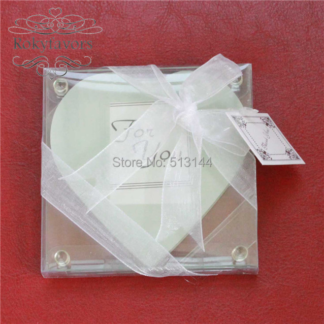 free shipping 15setslot 2pcsset heart photo glass coaster wedding favors
