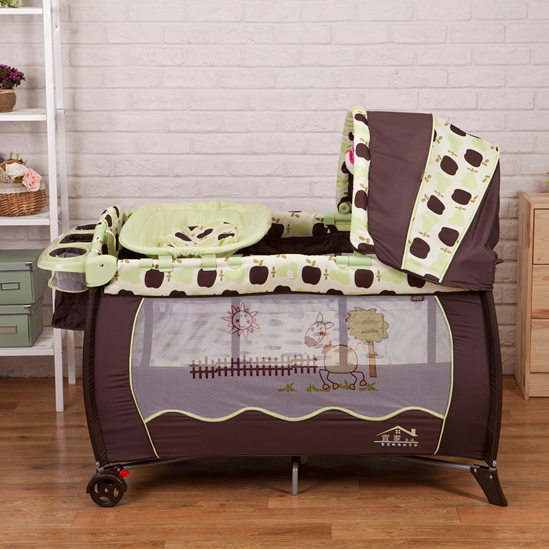 Hot sell Eco-friendly multifunctional folding baby crib Infant baby bed Portable play Sleeping game bed free shipping 2016 hot sale baby crib portable detachable folding bed baby portable multifunctional folding baby bed