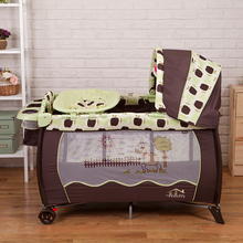 Hot sell Eco friendly multifunctional folding baby crib Infant baby bed Portable play Sleeping game bed
