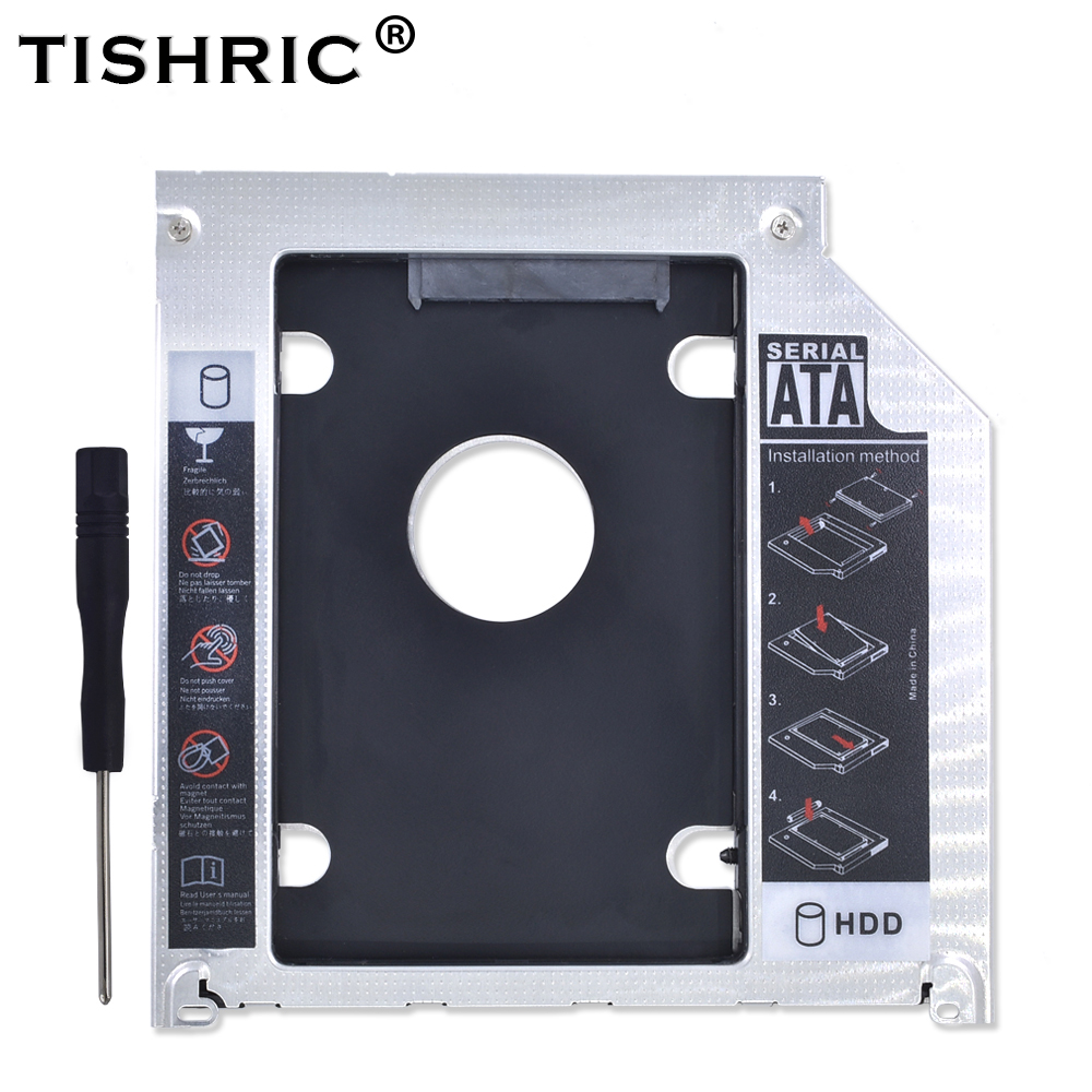 "TISHRIC 9.5 SATA 2nd 2.5 HDD SSD Enclosure Hard Disk Drive Optibay Caddy For Apple Macbook Air Pro 13"" 15"" 17"" Superdrive Case"