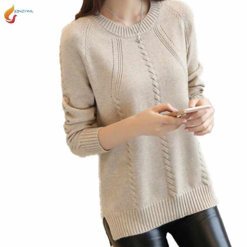 Sweater women autumn winter loose large size casual pure color sweater long-sleeved round neck Knitwear women short sweater G635