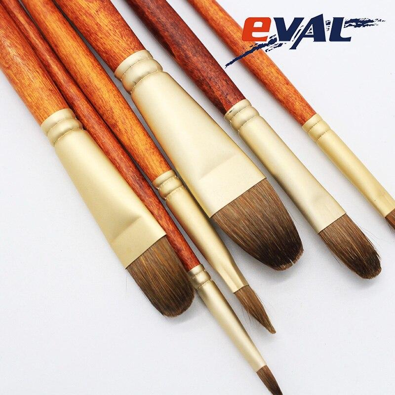 Eval High Grade Weasel Hair 6pcs/Set Paint Brush Art Supplies Acrylic Paint Watercolor Brush Pen Filbert Drawing Painting Brush