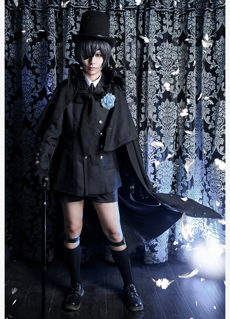 Anime Black Butler Ciel Phantomhive Funeral Cosplay Cotume Kuroshitsuji Halloween Costume Fancy Party Outfit Daily Suits for Men